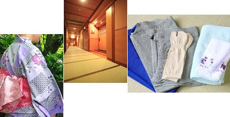 作務衣と浴衣、畳敷の廊下イメージ